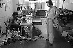 Asian sweatshop rag trade workshop east London 1970s. Owner and worker.