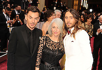 WWW.BLUESTAR-IMAGES.COM Actor Jared Leto (R), mother Constance Leto and brother Shannon Leto attend the 86th Annual Academy Awards held at Hollywood &amp; Highland Center on March 2, 2014 in Hollywood, California.<br /> Photo: BlueStar Images/OIC jbm1005  +44 (0)208 445 8588