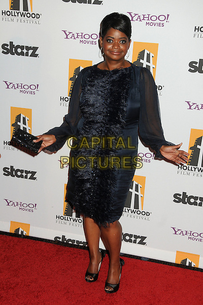 Octavia Spencer.15th Annual Hollywood Film Awards Gala held at the Beverly Hilton Hotel, Beverly Hills, California, USA.  .October 24th, 2011.full length black blue frills sheer sleeves dress hands.CAP/ADM/BP.©Byron Purvis/AdMedia/Capital Pictures.