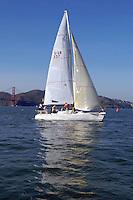 27 November 2007: Eddie Conrad, Evan Brown, Craig Page, Graham Brandt-Zawadzki, Leigh Hammel and Cole Hatton sail against University of California Berkeley during the Big Sail at the St. Francis Yacht Club in San Francisco, CA.