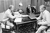 United States President Jimmy Carter, left, meets U.S. Secretary of Defense Harold Brown, center, and U.S. Secretary of State Cyrus Vance, right, meet at Camp David, the U.S. presidential retreat near Thurmont, Maryland to discuss strategy during the peace talks between Egypt and Israel in September, 1978..Credit: White House via CNP