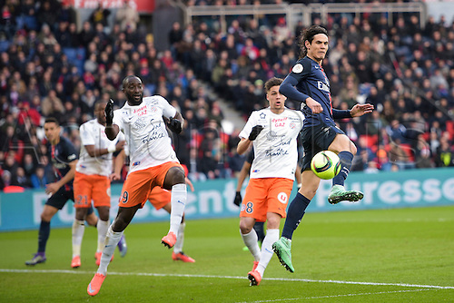 05.03.2016. Paris, France. French League 1 football. Paris St Germain versus Montpellier.  Edinson Cavani (PSG) with a back-heel past Jonas Martin and  Mustapha Yatabaré