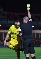 Fleetwood Town's Ched Evans is yellow carded by Referee Darren Handley<br /> <br /> Photographer Dave Howarth/CameraSport<br /> <br /> EFL Leasing.com Trophy - Northern Section - Group B - Tuesday 3rd September 2019 - Accrington Stanley v Fleetwood Town - Crown Ground - Accrington<br />  <br /> World Copyright © 2019 CameraSport. All rights reserved. 43 Linden Ave. Countesthorpe. Leicester. England. LE8 5PG - Tel: +44 (0) 116 277 4147 - admin@camerasport.com - www.camerasport.com