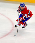 22 November 2008: Montreal Canadiens' defenseman Francis Bouillon in action during the second period against the Boston Bruins at the Bell Centre in Montreal, Quebec, Canada.  After a 2-2 regulation tie and a non-scoring 5-minute overtime period, the Boston Bruins scored the lone shootout goal thus defeating the Canadiens 3-2. The Canadiens, celebrating their 100th season, honored former Montreal goaltender Patrick Roy, and retired his jersey (Number 33) during pre-game ceremonies. ***** Editorial Use Only *****..Mandatory Photo Credit: Ed Wolfstein Photo *** Editorial Sales through Icon Sports Media *** www.iconsportsmedia.com
