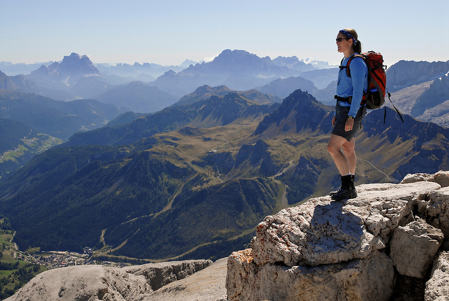 Italy's Dolomite mountains are seen from the alpine hut at Piz Boe, at 10,334 feet, the tallest peak within the Sella range.
