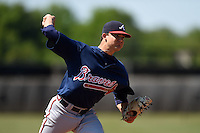 Atlanta Braves pitcher Dustin Emmons (68) during a minor league spring training game against the Houston Astros on March 29, 2015 at the Osceola County Stadium Complex in Kissimmee, Florida.  (Mike Janes/Four Seam Images)
