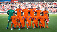 Netherlands pre match team photo (back row l-r) Goalkeeper Joey Koorevaar (Feyenoord), Wouter Burger (Feyenoord), Ramon Hendriks (Feyenoord), Ryan Gravenberg (Ajax), Liam Van Gelderen (Ajax) & Daishawn Redan (Chelsea) (front row l-r) Mohammed Ihattaren (PSV), Quinten Maduro Timber (Ajax), Elayis Tavsan (Sparta), Jurriën Maduro Timber (Ajax) & Cristopher Mamengi (FC Utrecht) of Holland U17 during the UEFA Under-17 Championship FINAL match between Italy and Netherlands at the New York Stadium, Rotherham, England on 20 May 2018. Photo by Andy Rowland.