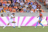 Houston, TX - Saturday July 30, 2016: Jaelene Hinkle, Stephanie Ochs during a regular season National Women's Soccer League (NWSL) match between the Houston Dash and the Western New York Flash at BBVA Compass Stadium.