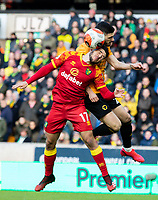Norwich City's Emi Buendia competes with Wolverhampton Wanderers' Joao Moutinho<br /> <br /> Photographer Alex Dodd/CameraSport<br /> <br /> The Premier League - Wolverhampton Wanderers v Norwich City - Sunday 23rd February 2020 - Molineux - Wolverhampton<br /> <br /> World Copyright © 2020 CameraSport. All rights reserved. 43 Linden Ave. Countesthorpe. Leicester. England. LE8 5PG - Tel: +44 (0) 116 277 4147 - admin@camerasport.com - www.camerasport.com
