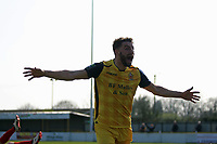Brad Warner of Hornchurch scores the fifth goal and celebrates during Witham Town vs AFC Hornchurch, Bostik League Division 1 North Football at Spa Road on 14th April 2018
