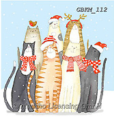 Kate, CHRISTMAS ANIMALS, WEIHNACHTEN TIERE, NAVIDAD ANIMALES, paintings+++++Christmas Dog and cat gangs,GBKM112,#xa# ,cat,cats