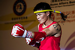 Bayadaa Mendbayar (Red) of Mongolia enters to the ring prior the male muay 60KG division weight bout against Wong Kim Nam (Not in picture) of Hong Kong during the East Asian Muaythai Championships 2017 at the Queen Elizabeth Stadium on 13 August 2017, in Hong Kong, China. Photo by Yu Chun Christopher Wong / Power Sport Images