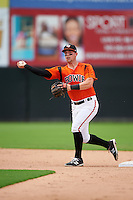 Bowie Baysox second baseman Jeff Kemp (4) throws to first base during the first game of a doubleheader against the Akron RubberDucks on June 5, 2016 at Prince George's Stadium in Bowie, Maryland.  Bowie defeated Akron 6-0.  (Mike Janes/Four Seam Images)