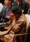 New York, NY - September 23, 2009 -- Revolutionary Leader Colonel Muammar al-Qadhafi (Muammar Gaddafi) of Libya attends the 64th General Assembly at the United Nations in New York, Wednesday, September 23, 2009..Credit: Olivier Douliery - Pool via CNP