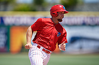 Clearwater Threshers designated hitter Austin Listi (34) runs the bases during a game against the Fort Myers Miracle on April 25, 2018 at Spectrum Field in Clearwater, Florida.  Clearwater defeated Fort Myers 9-5. (Mike Janes/Four Seam Images)