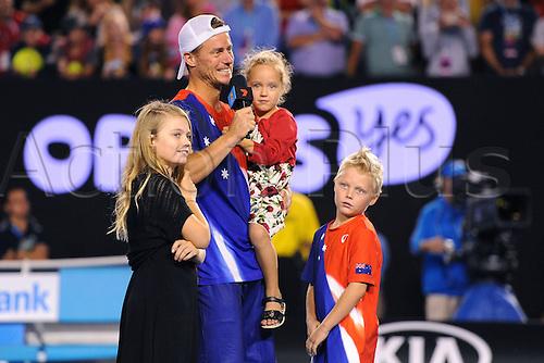 22.01.2016. Melbourne Park, Melbourne, Australia, Australian Open Tennis Championships.  Lleyton Hewitt (AUS) with family Mia Rebecca Hewitt, Cruz Hewitt and Ava Hewitt