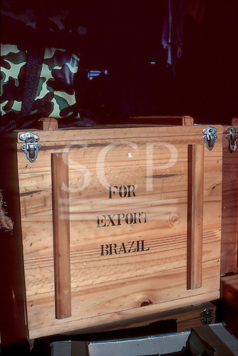 """Brazil. Wooden crate marked """"For export Brazil""""."""