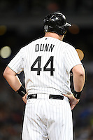 Chicago White Sox designated hitter Adam Dunn (44) stands on third base during a game against the Toronto Blue Jays on August 15, 2014 at U.S. Cellular Field in Chicago, Illinois.  Chicago defeated Toronto 11-5.  (Mike Janes/Four Seam Images)