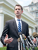 United States Senator Tom Cotton (Republican of Arkansas) speaks to reporters outside the White House after meeting US President Donald J. Trump to discuss his proposed legislation to enact a skills-based immigration system called the Reforming American Immigration for a Strong Economy (RAISE) Act that they claim would also result in a lower level of immigration.<br /> Credit: Ron Sachs / CNP