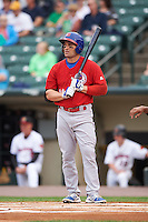 Buffalo Bisons designated hitter Luke Scott (36) at bat during a game against the Rochester Red Wings on July 8, 2015 at Frontier Field in Rochester, New York.  Rochester defeated Buffalo 6-5.  (Mike Janes/Four Seam Images)