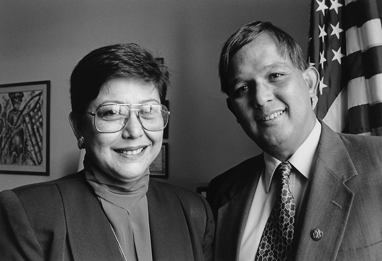 Kathy Gault and Rep. Robert A. Underwood, D-Guam, on March 7, 1996. (Photo by Rebecca Roth/CQ Roll Call)