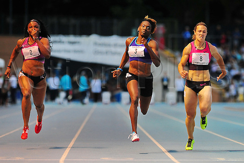 08.06.2013 Torino, Italy. Chauntae Bayne of the USA wins 100m before Olesya Povh of Ukraine and Aleen Bailey of the USA during the International Athletics meeting Memorial Primo Nebiolo from the Stadio Primo Nebiolo.