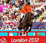 Engeland, London, 8 augustus 2012.Olympische Spelen London.PaardenSport .Marc Houtzager van nederland met zijn paard Tamino in actie op het onderdeel Jumping individueel