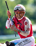 AUG 24: Midnight Bisou with Mike Smith defeats Elate with Jose Ortiz to win the Personal Ensign Stakes at Saratoga Racecourse in New York on August 24, 2019. Evers/Eclipse Sportswire/CSM
