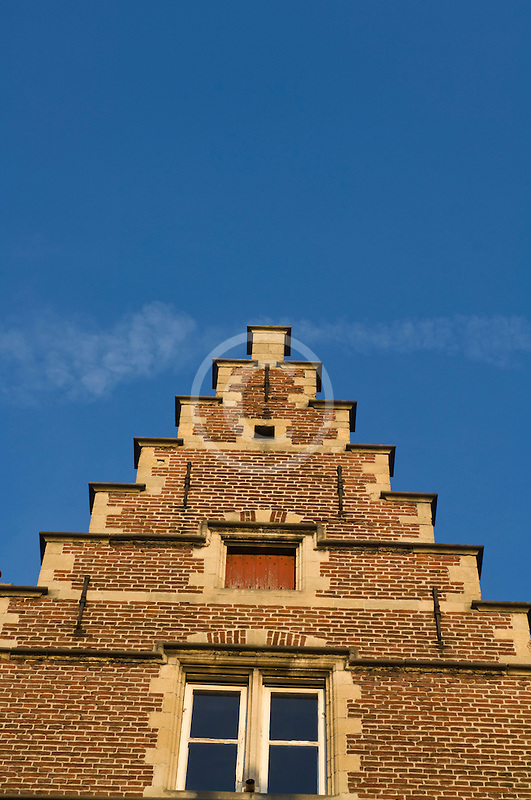 Belgium, Ghent, Gabled house rooftop