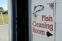 Rom for rensing av fisk på campingplass i Turangi ---- Fish cleaning room on camp in Turangi