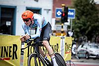 Nathan Van Hooydonck (BEL/CCC) riding a strong ITT. He will eventually finish at the 2nd place. <br /> <br /> Baloise Belgium Tour 2019<br /> Stage 3: ITT Grimbergen – Grimbergen 9.2km<br /> ©kramon