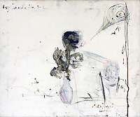 BNPS.co.uk (01202 558833)<br /> Pic: Sworders/BNPS<br /> <br /> Art from the Heart...<br /> <br /> A morbid self portrait by Pete Doherty of himself and Kate Moss drawn using his own blood has emerged for sale for £5,000.<br /> <br /> The Libertines frontman pictured himself with his supermodel then-girlfriend in the artwork which is believed to date from when they were a couple circa 2005.<br /> <br /> He gifted it to the current owner before the break-up of his high profile relationship with Moss in 2007. Now, the vendor is selling the crayon and blood portrait with auctioneer Sworders, of Stansted Mountfitchet, Essex.<br /> <br /> Moss's head can be made out on the right side of the portrait, which has the inscription 'Ray Heads the son'.<br /> <br /> There is also a vase drawn in crayon with a darker figure emerging from it which is thought to represent Doherty.