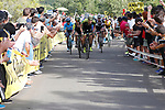 Mitchelton-Scott team on the final climb during Stage 13 of the La Vuelta 2018, running 174.8km from Candas, Carreno to Valle de Sabero, La Camperona, Spain. 7th September 2018.<br /> Picture: Unipublic/Photogomezsport | Cyclefile<br /> <br /> <br /> All photos usage must carry mandatory copyright credit (&copy; Cyclefile | Unipublic/Photogomezsport)