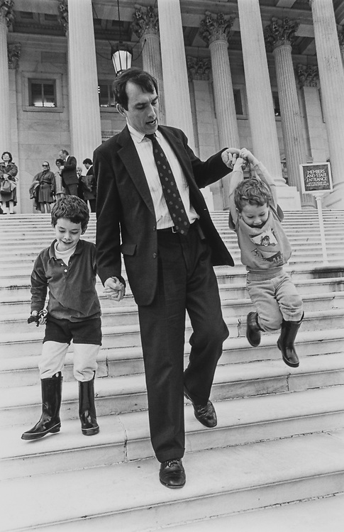 Rep. Pete Visclosky, D-Ind., after swear-in comes down House steps with sons John (age 5) and Tim (age 2) on Jan. 5, 1993. (Photo by Maureen Keating/CQ Roll Call via Getty Images)