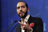 """Washington, DC - March 13, 2019: President-elect of El Salvador, Nayib Bukele, holds a discussion about """"A new Era in El Salvador"""" at The Heritage Foundation in Washington, D.C., March 13, 2019.  (Photo by Lenin Nolly/Media Images International)"""