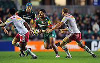 Manu Tuilagi of Leicester Tigers in possession. Aviva Premiership match, between Leicester Tigers and Harlequins on October 10, 2014 at Welford Road in Leicester, England. Photo by: Patrick Khachfe / JMP