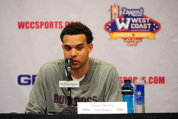 March 3, 2012; Las Vegas, NV, USA; Gonzaga Bulldogs forward Elias Harris (20) addresses the media in a press conference against the BYU Cougars during the WCC Basketball Championships at Orleans Arena.