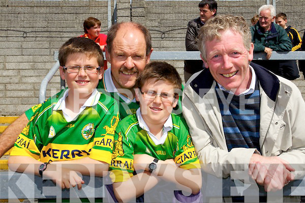 Kerry fans pictured at the Westmeath v Kerry match in Mullingar on Sunday, from left: Tadhg Hurley, Richie Hurley, Niall Hurley from Tralee and John Higgins (Castlepollard)..