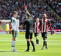 Sheffield United VS Barnsley FC EFL CHAMPIONSHIP <br /> Saturday 19th August 2017, Bramall Lane Sheffield<br /> <br /> Barnsleys Angus McDonald is shown a red card for his actions<br /> <br /> Picture - Alex Roebuck / www.alexroebuck.co.uk