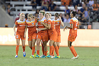 Houston, TX - Saturday Sept. 03, 2016: Denise O'Sullivan, Kealia Ohai celebrates scoring, Cari Roccaro, Ellie Brush during a regular season National Women's Soccer League (NWSL) match between the Houston Dash and the Orlando Pride at BBVA Compass Stadium.