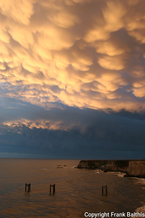 Storm clouds over Davenport cliffs