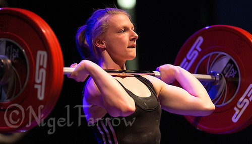 10 MAY 2014 - COVENTRY, GBR - Bobbie Butters from Oldbury Academy attempts to complete a lift during the women's 53kg category round at the British 2014 Senior Weightlifting Championships and final 2014 Commonwealth Games qualifying event round at the Ricoh Arena in Coventry, Great Britain (PHOTO COPYRIGHT © 2014 NIGEL FARROW, ALL RIGHTS RESERVED)