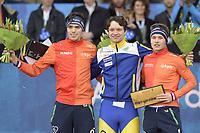 SCHAATSEN: AMSTERDAM: Olympisch Stadion, 11-03-2018, WK Allround, Coolste Baan van Nederland, Podium 10.000m Men, Patrick Roest (NED), Nils van der Poel (SWE), Marcel Bosker (NED), ©foto Martin de Jong