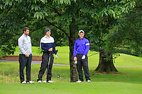 Richard Tighe (Elm Park), Jack Pierse (Portmarnock) and Stephen Barker (Mourne) on the 3rd tee during round 1 of The Mullingar Scratch Cup in Mullingar Golf Club on Sunday 3rd August 2014.<br /> Picture:  Thos Caffrey / www.golffile.ie