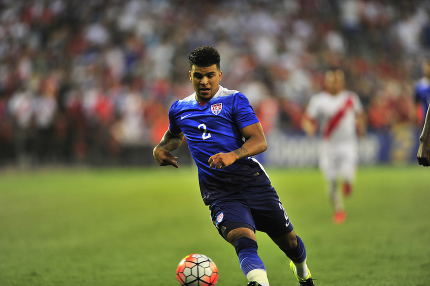 DeAndre Yedlin of US controls the ball. USA defeated Peru 2-1 during a Friendly Match at the RFK Stadium in Washington, D.C. on Friday, September 4, 2015.  Alan P. Santos/DC Sports Box