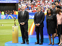 20190707 - LYON , FRANCE : Swiss-Italian chairman of the Fifa Gianni Infantino , French president Emmanuel Macron and Fatma Samoura, FIFA Secretary General pictured during the female soccer game between The United States of America – USA-  and the Netherlands – Oranje Leeuwinnen -, the final  of the FIFA Women's  World Championship in France 2019, Sunday 7 th July 2019 at the Stade de Lyon  Stadium in Lyon  , France .  PHOTO SPORTPIX.BE | DAVID CATRY