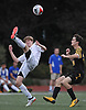 Shane Salmon #13 of Kellenberg, left, makes a bicycle kick during a Nassau-Suffolk CHSAA varsity boys soccer game against St. Anthony's at Kellenberg High School on Thursday, Sept. 21, 2017. St. Anthony's won by a score of 1-0.