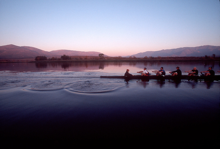 Rowing, US National Men's eight, workout, ARCO Olympic Training Center, Otay Lake, Chula Vista, California, Dusk.