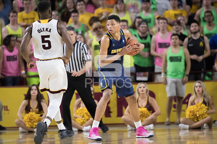 TEMPE, AZ - February 8, 2017: Cal Bears Men's Basketball team vs. the Arizona State University Sun Devils at Wells Fargo Arena. Final score, Cal Bears 68, Arizona State University Sun Devils 43.