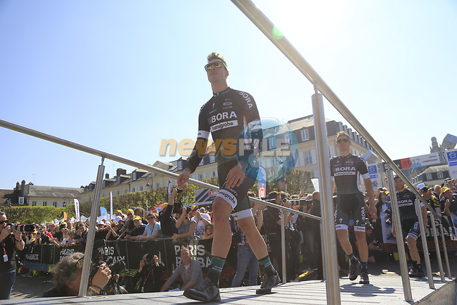Bora-Hansgrohe team at the Team Presentation for the upcoming 115th edition of the Paris-Roubaix 2017 race held in Compiegne, France. 8th April 2017.<br /> Picture: Eoin Clarke | Cyclefile<br /> <br /> <br /> All photos usage must carry mandatory copyright credit (&copy; Cyclefile | Eoin Clarke)